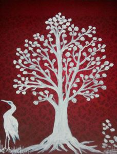 Painting of a tree and a bird