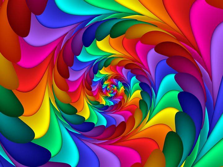 Psychedelic Rainbow Spiral Kitty Bitty Digital Art