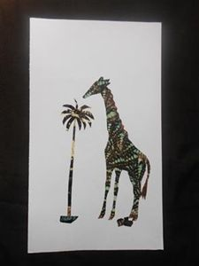 Giraffe and Palm tree