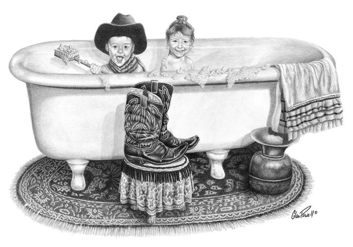Bubbles & Boots - Glen Powell Fine Art Pencil Drawings