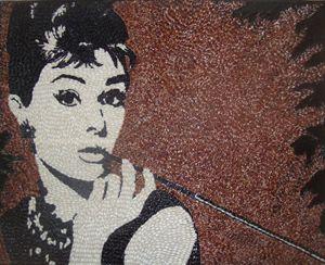 Audrey Hepburn rice on canvas
