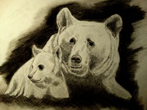 Bear with her cub