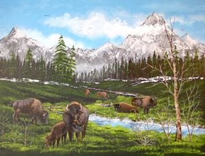 Buffalo Herd on the Mountain Stream - Wenzel Trading Post