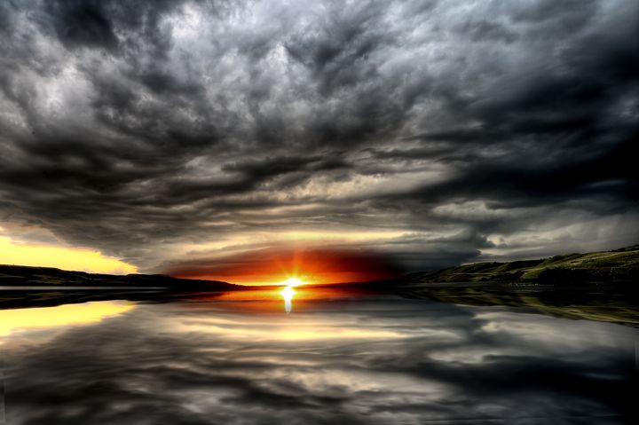 Storm Clouds Lake Sunset - Fine Art Photography