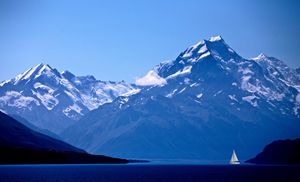 Mount Cook New Zealand sailboat