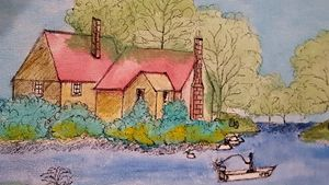 man fishing by house - blues' arcylic paintings