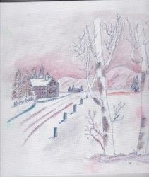 chill of winter - blues' arcylic paintings