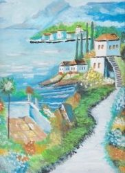 houses by the ocean - blues' arcylic paintings