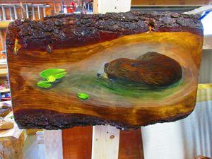 Beaver on Pine Slab