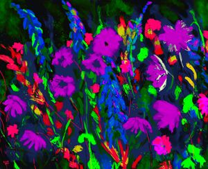 Colorful garden art