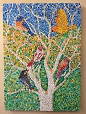oil painting,wood burning and mosaic