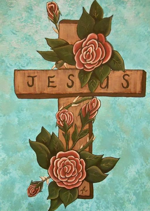 Jesus Cross w/3 roses - JMC Arts & Crafts