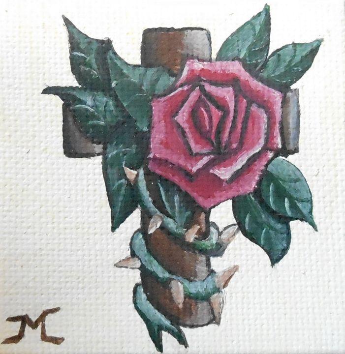 Red rose on cross - JMC Arts & Crafts