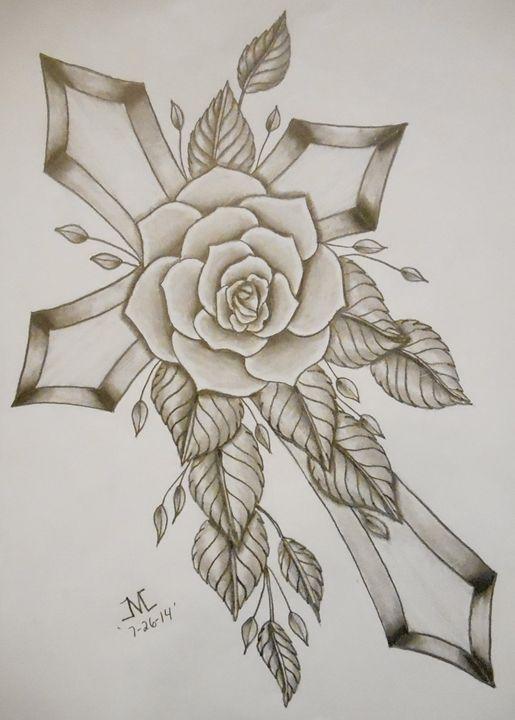 Bold Cross w/Rose - JMC Arts & Crafts