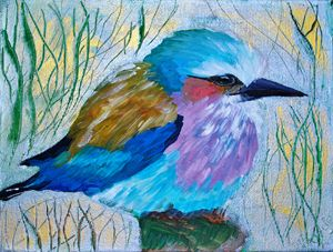 African Bird in Acrylics