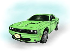 Dodge Challenger - Digital art by Kel