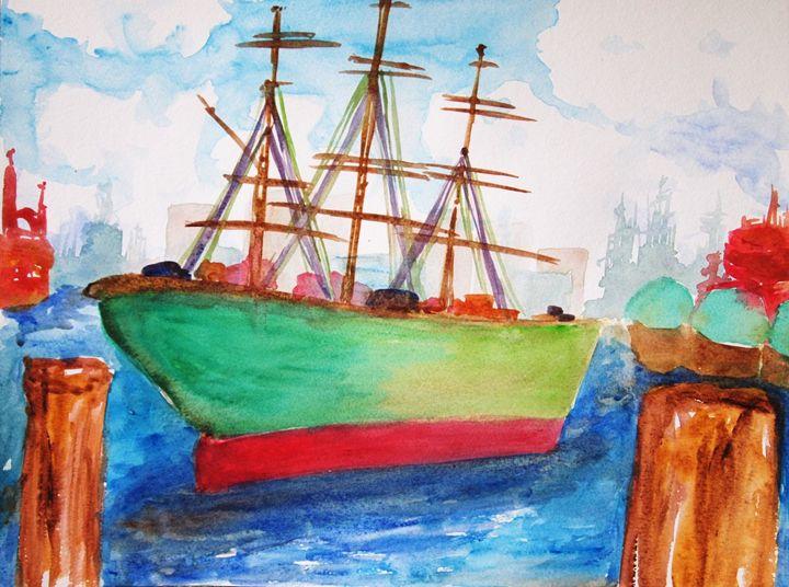 Ship on a harbor - Symplisse Art