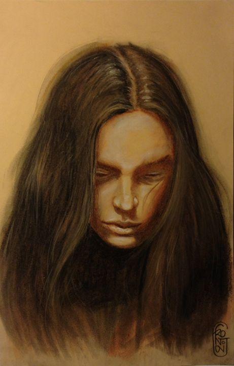 The girl with long hair - Giuseppe Frontoni