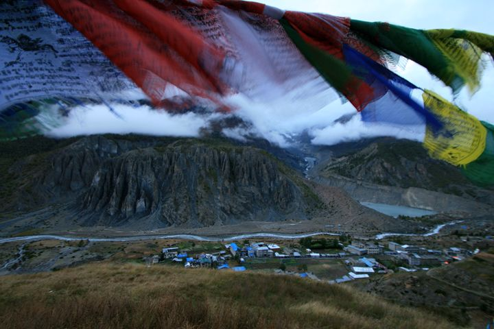 Prayers over Manang, Nepal - Dano Vukicevich Photography