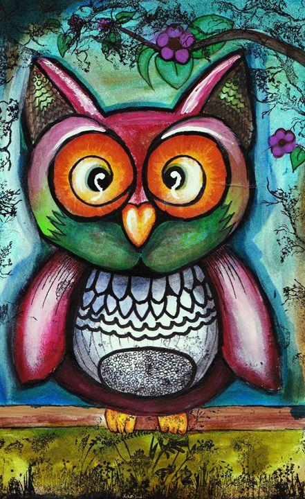 Owl on branch - Sharon HArt Designs
