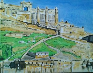 Pink city in India watercolor