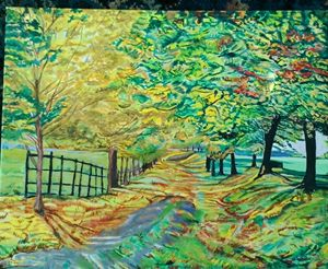 Park in autumn watercolor