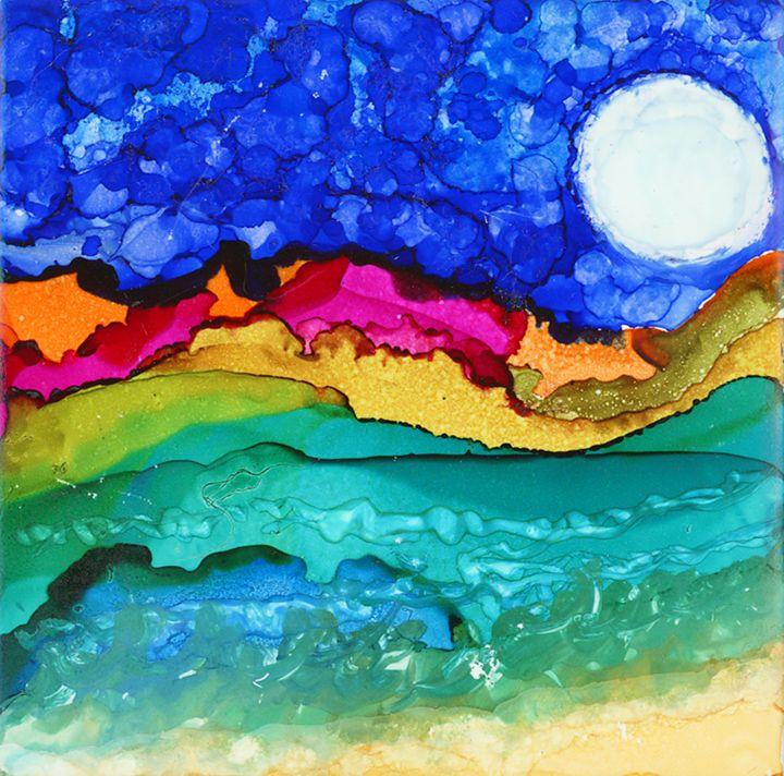 Fox Under the Moonlight - Spirit Art by Joan