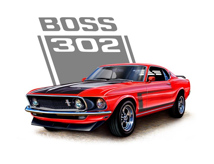Mustang Boss 302 Red - David F Kyte