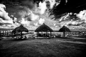 tiki huts ocean side