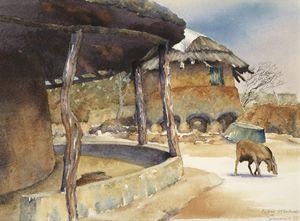 Granary  in legae.  Old Mochudi