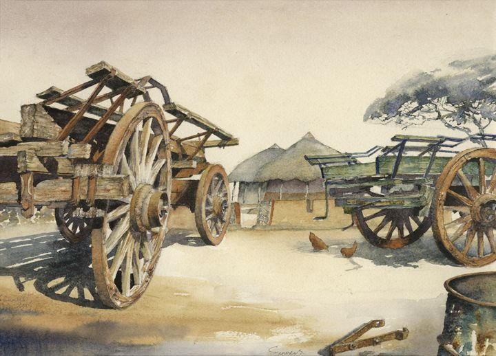 Last outspan.  Abandoned ox wagons - Peter Sunners