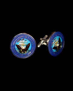 Hand Painted US Navy Cuff Links - Maverick Designs