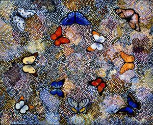 Butterflies Are Free II - Sally Harrison's Dot Paintings