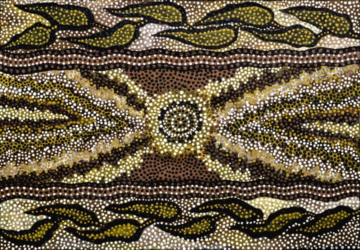 MINNIE'S ROOTS  - 1901 GRASSY GULLY - Sally Harrison's Dot Paintings