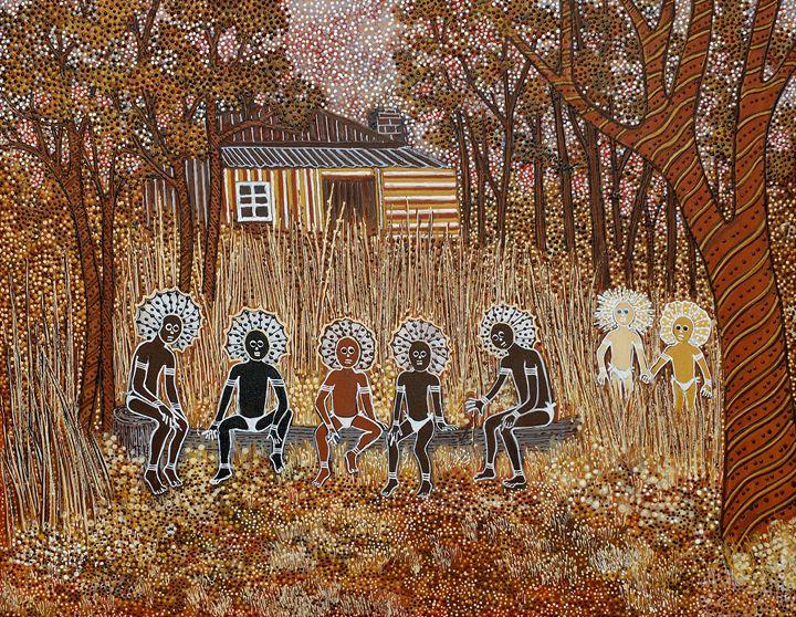SECRET MEN'S BUSINESS - Sally Harrison's Dot Paintings