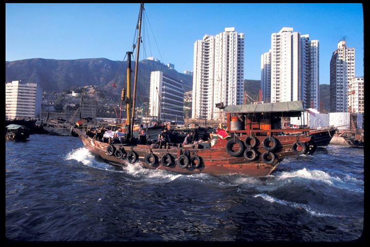 Chinese Junk in Hong Kong Harbor - Carl Purcell - Global Photography