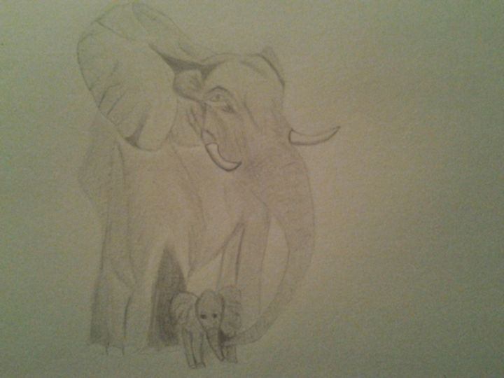 Mamma and Baby Elephant - Holly's Gallery of Art