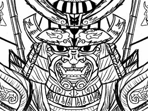 Samurai Drawing B&W