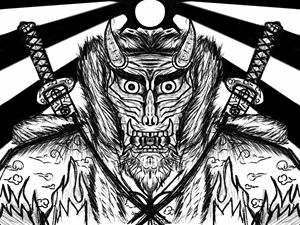 Japan Demon Mask B&W