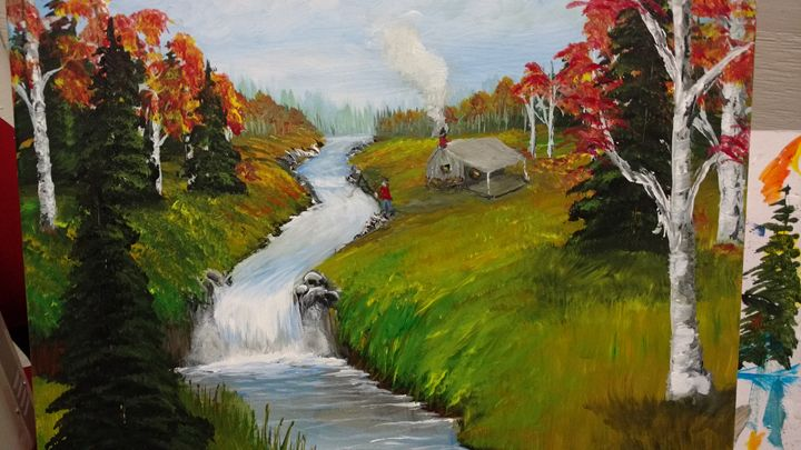 Mt Cabin by Stream - Dave'sArt