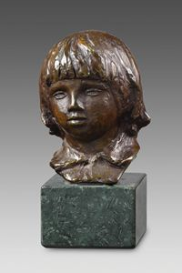 Bronze sculpture, marble base-Renoir