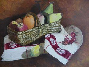 Basket of fruit in oils.
