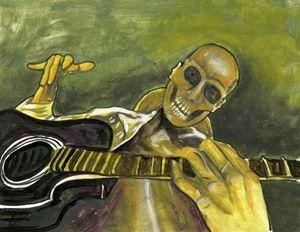 Skeleton Man Playing Guitar