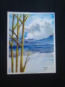 Blue tree mountain.Sky reflections,