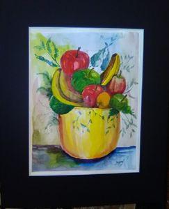 Yellow bowl of fruit,in watercolor,