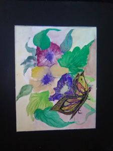 Floral with butterfly in watercolor,