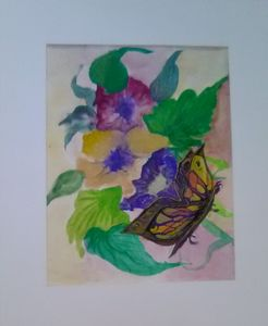 Flower purple yellow with butterfly