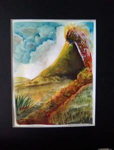 Volcano, Watercolor original  prints