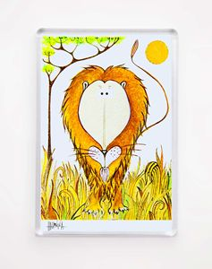MAGNET - Funny Lion in Savana
