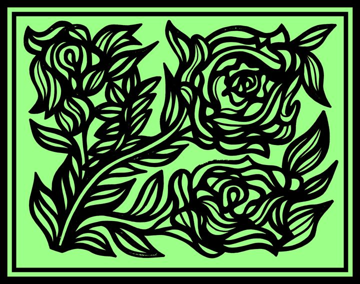 Black Green Rose Flower - Eddie Alfaro Art